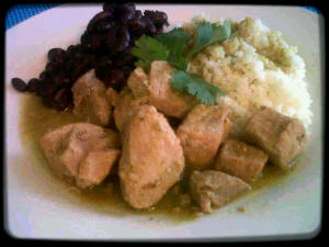 Salsa verde pork with black beans & white rice