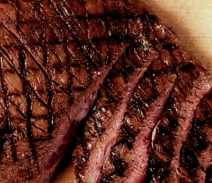 Allow steak to rest.