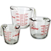 Glass is used for measuring wet ingredients, and come in 1 cup to 8 cup sizes.