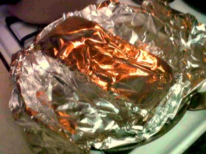 I use a foil wrapped brick as a weight.