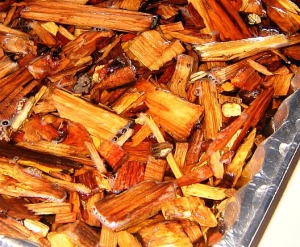 Soak wood chips for 30 minutes.