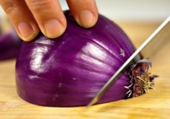 Remove the root of an onion before slicing or dicing to avoid Tears.
