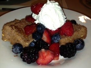 Preview of tomorrow's post.  Chocolate Angel Food Cake W/Mixed Berries and Cream