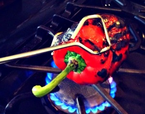 If roasting on gas stove burner, use long metal tongs.