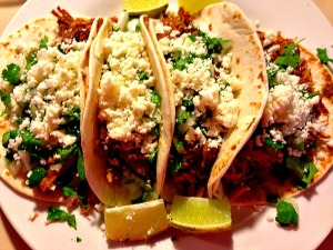 Carnitas with flour tortillas.