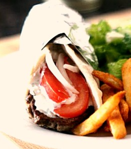 Instead of cutting your Pita open, just fold it add some lamb, onion, tomato and Tzatziki sauce fora homemade Gyro!