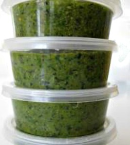 Make too much pesto? No problem, just freeze it in freezer proof containers or ice cube trays.
