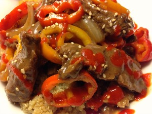 Pepper Steak with a drizzle of sriracha!!!