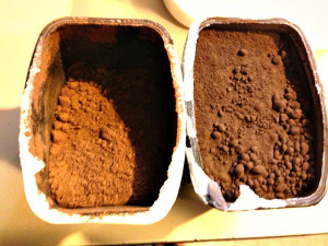 "To the left is the regular cocoa, to the right is the ""special dark cocoa"""